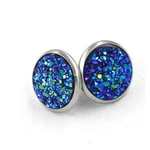 Blue Green Druzy Stainless Steel Post Earrings